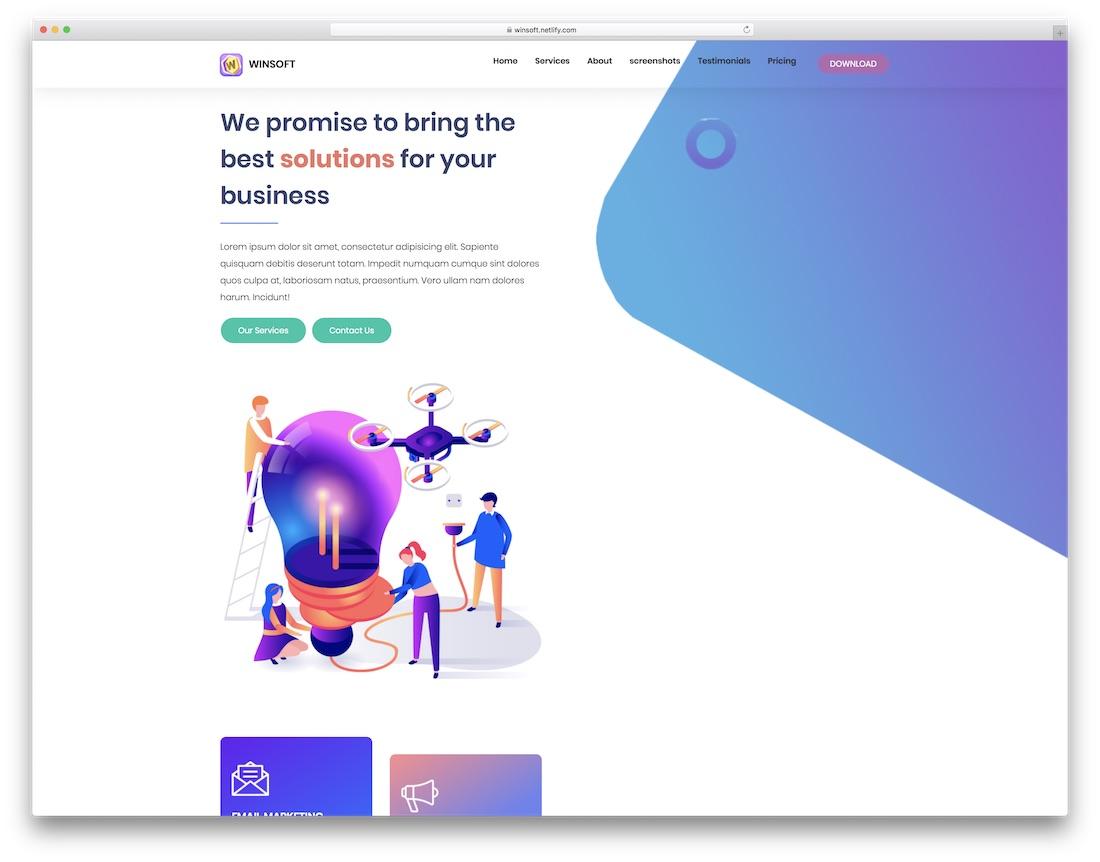 winsoft landing page template