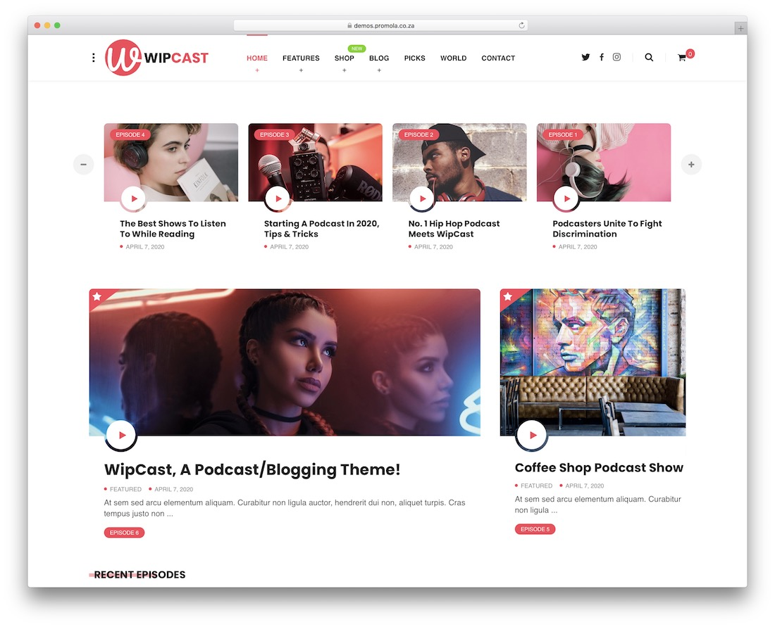 wipcast wordpress podcasting theme