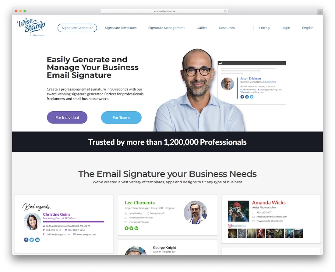 wisestamp email signatures social media tool