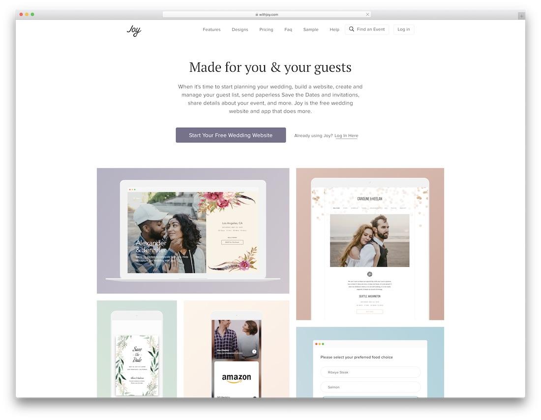 with joy wedding website builder
