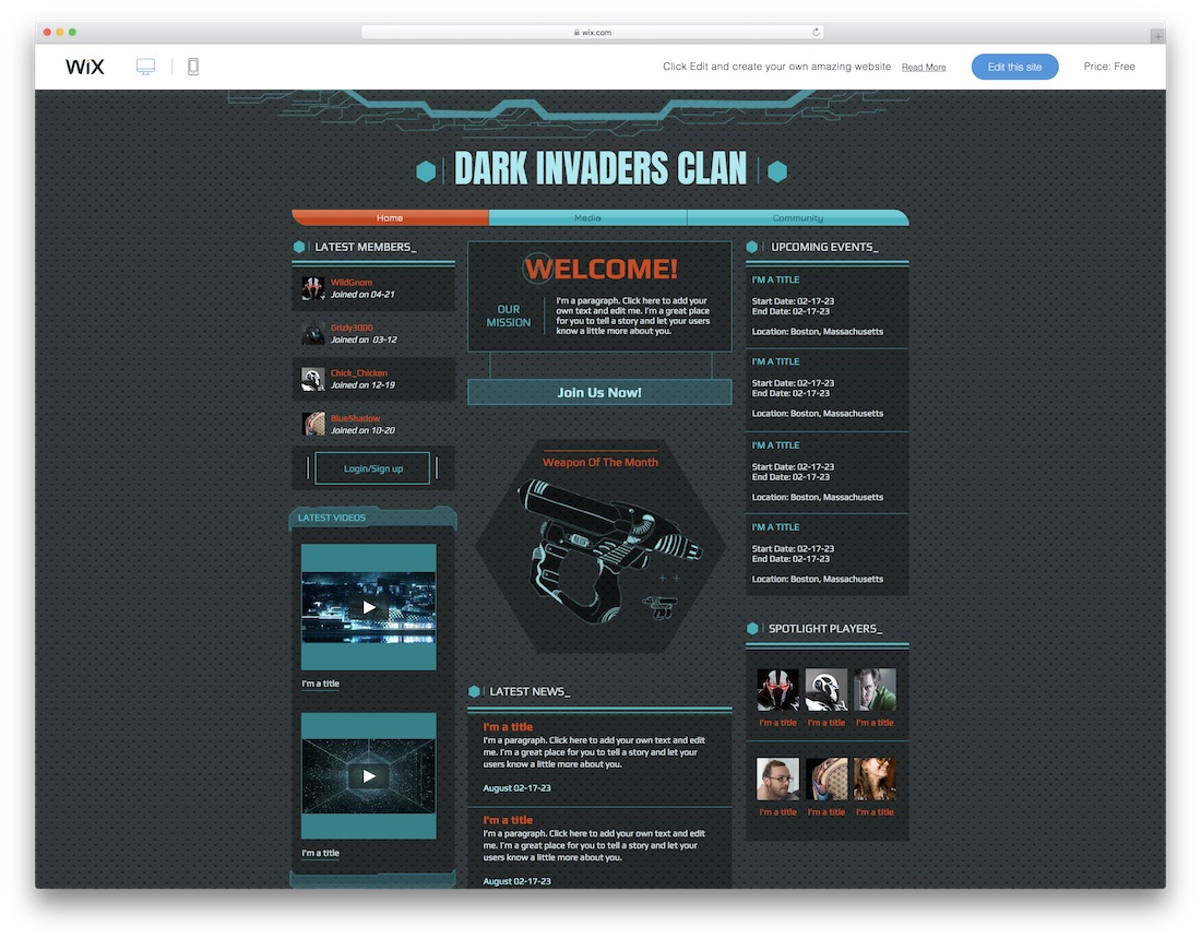 wix clan website template