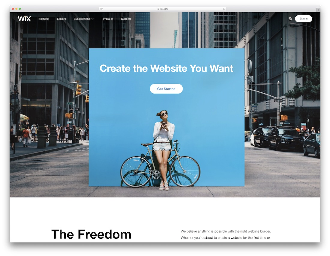 wix free one page website builder