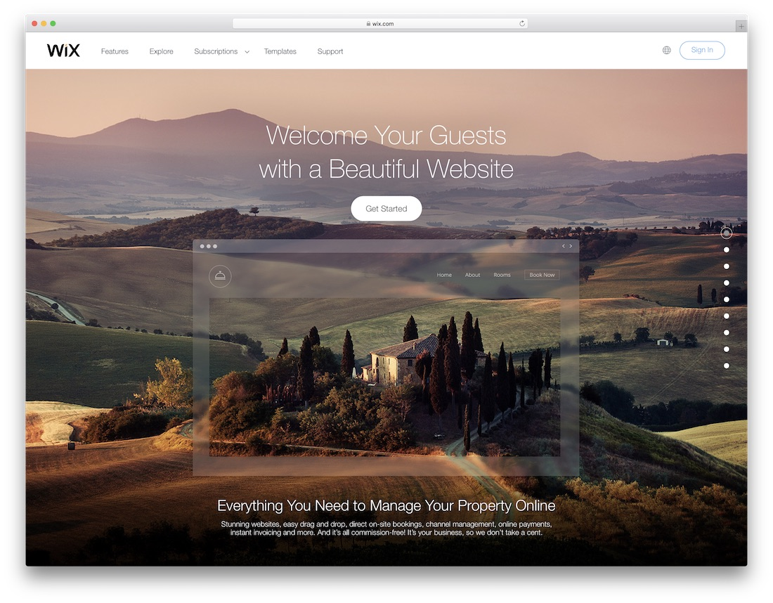 wix hotel website builder