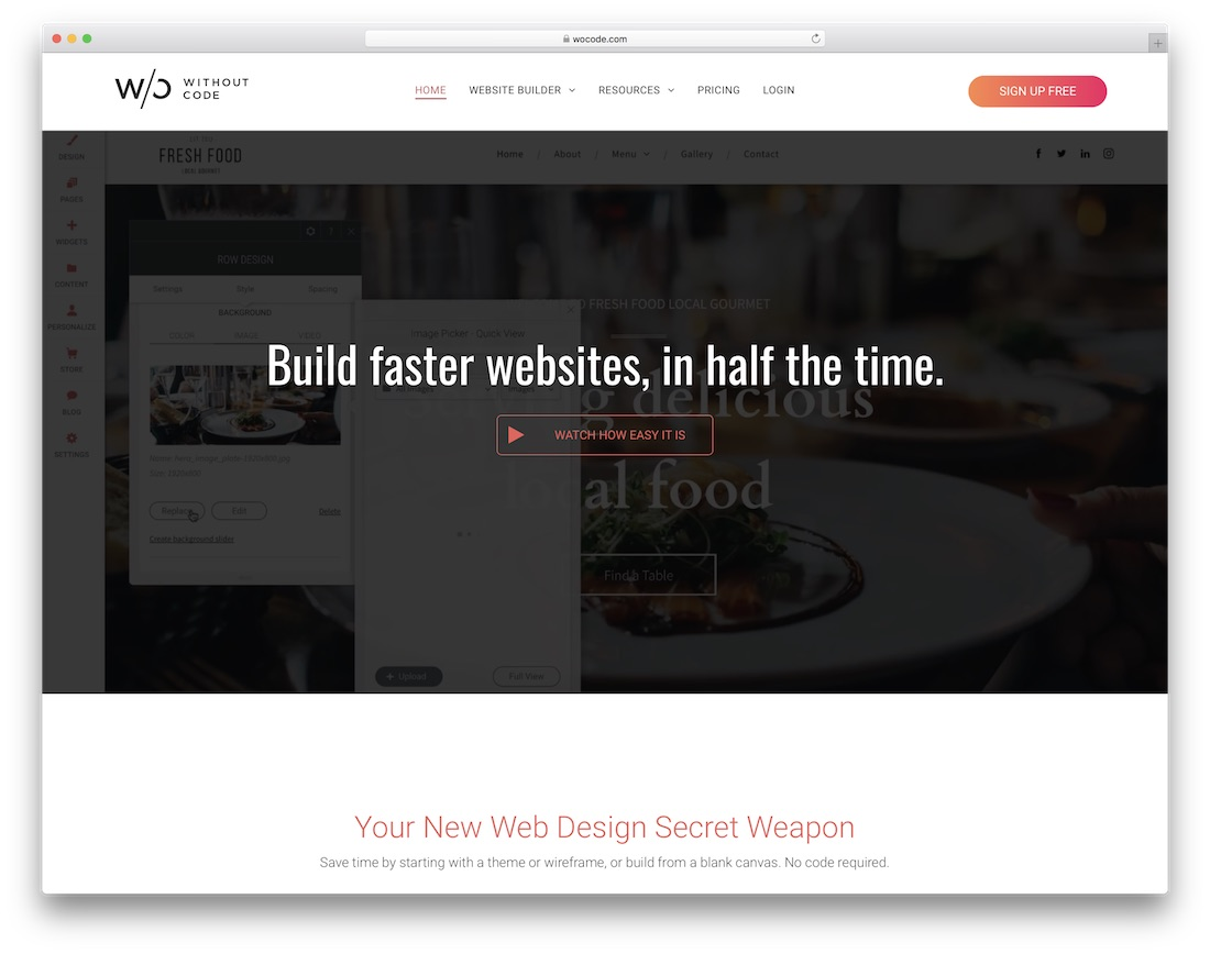 wocode free drag and drop website builder
