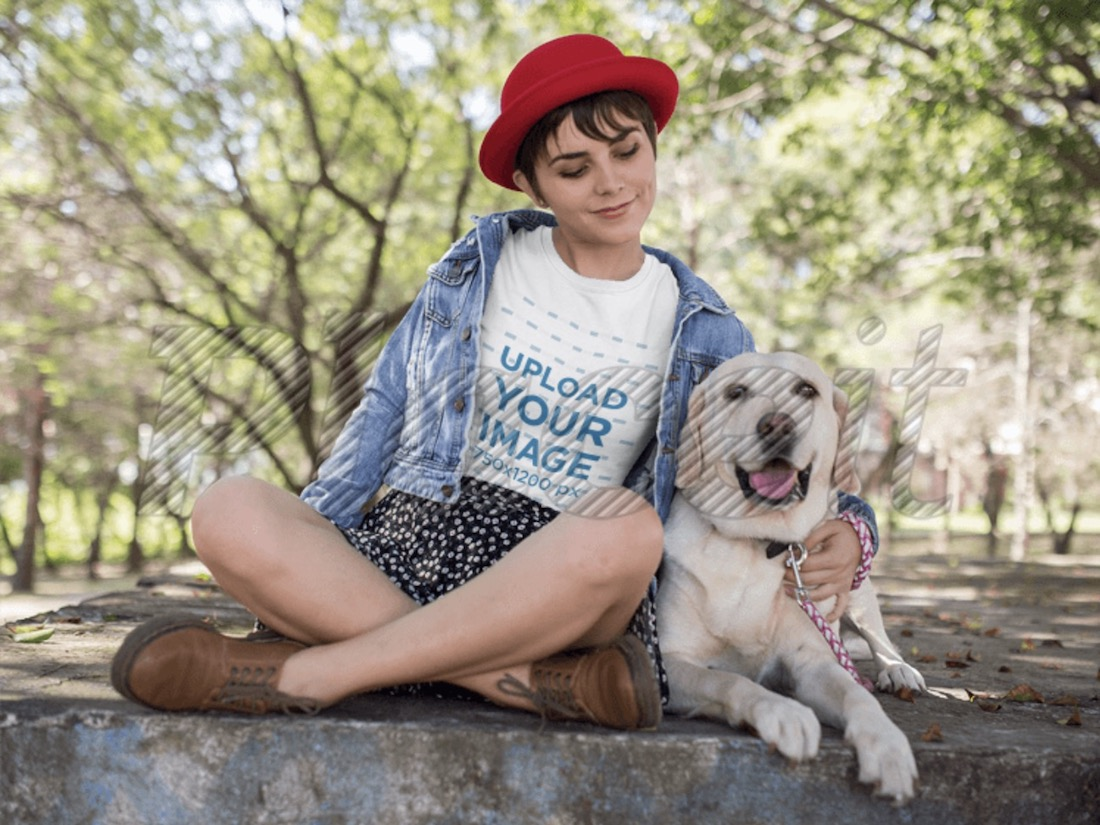 woman at a park with her dog wearing a tshirt mockup