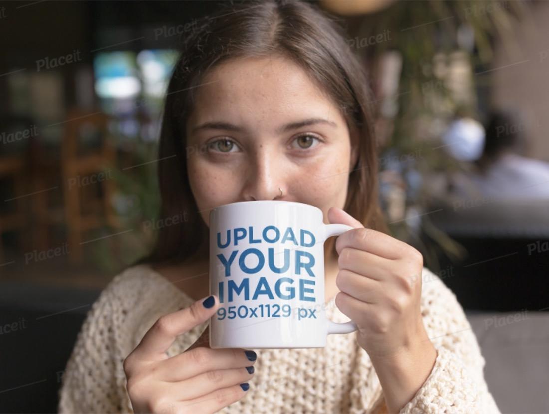 woman drinking a hot beverage mug mockup
