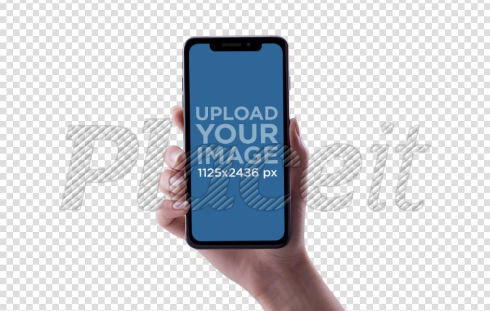 woman hand holding an iphone x mockup against a transparent backdrop