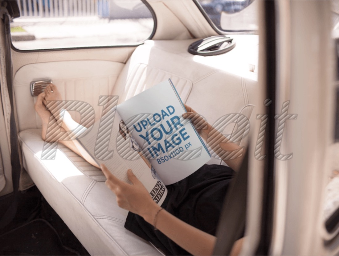 woman reading a magazine in the back of a car mockup