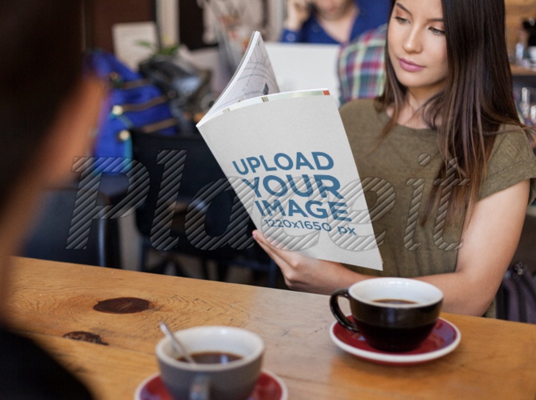 woman reading a magazine mockup