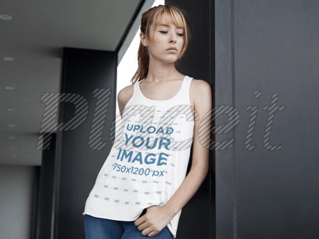 woman wearing a bella flowy tank top mockup