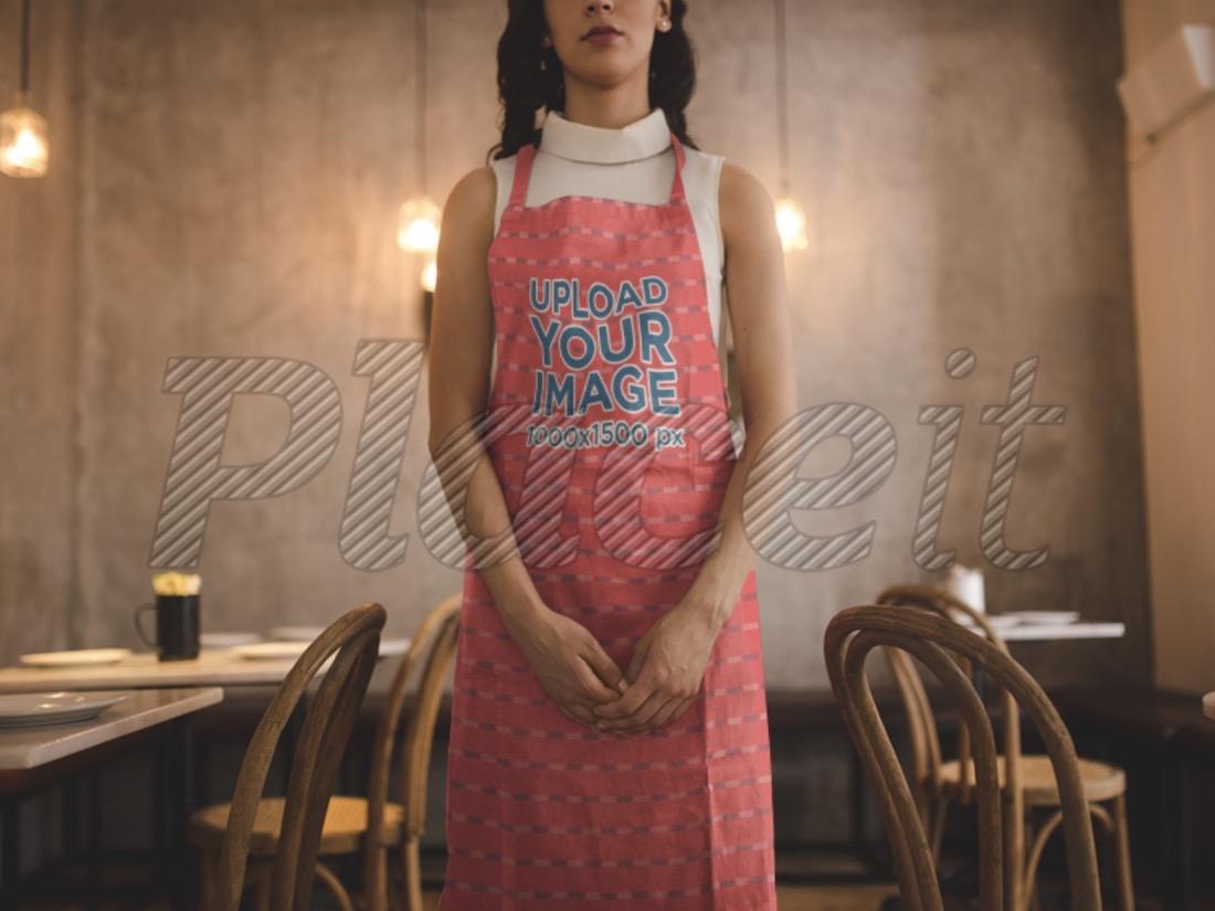 woman wearing an apron mockup