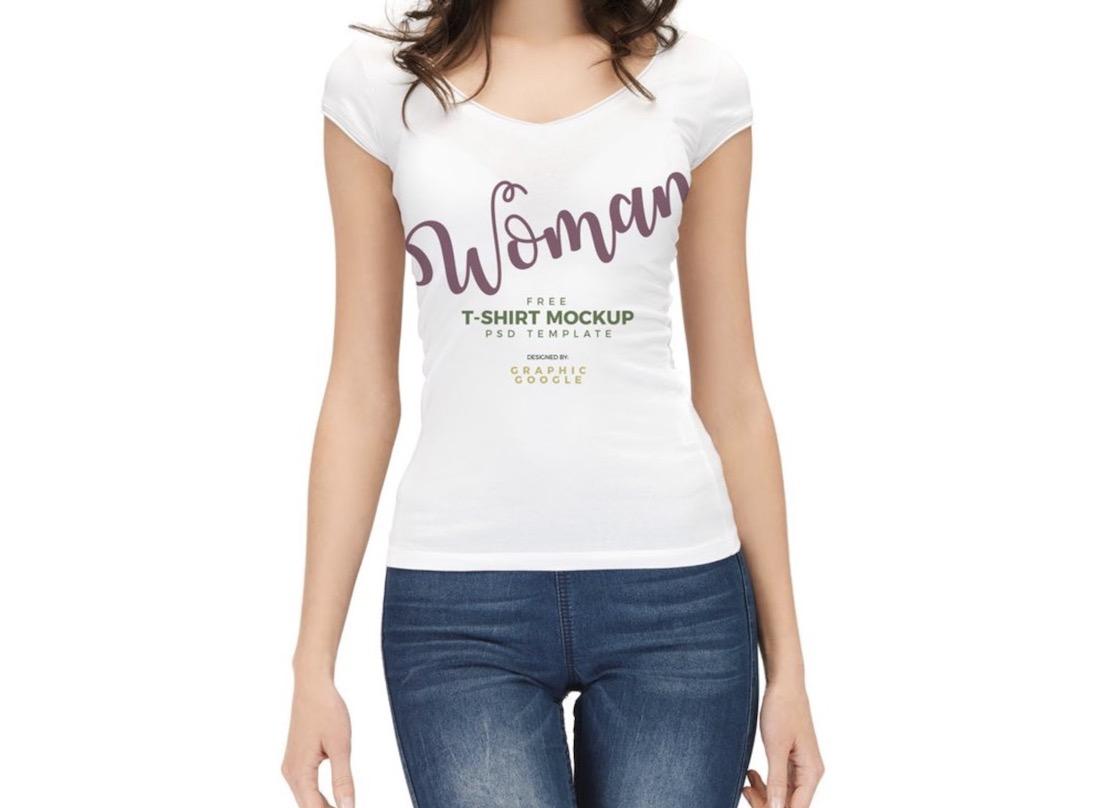 woman wearing white t-shirt mockup