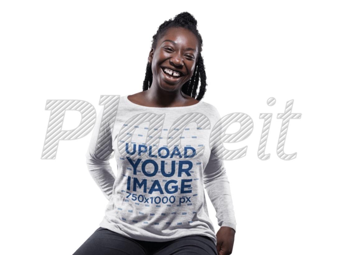 woman with dreadlocks wearing a bella flowy long sleeve