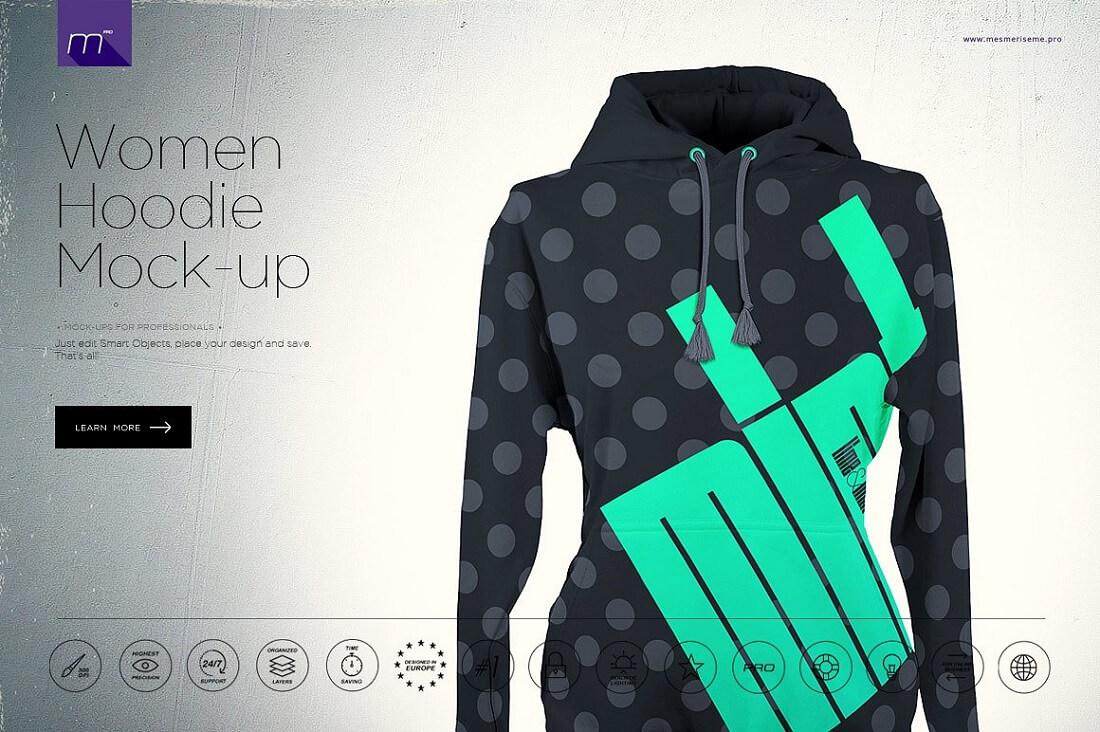 women hoodie mock up psd