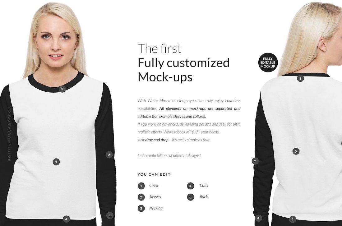 women sweatshirt mock ups set