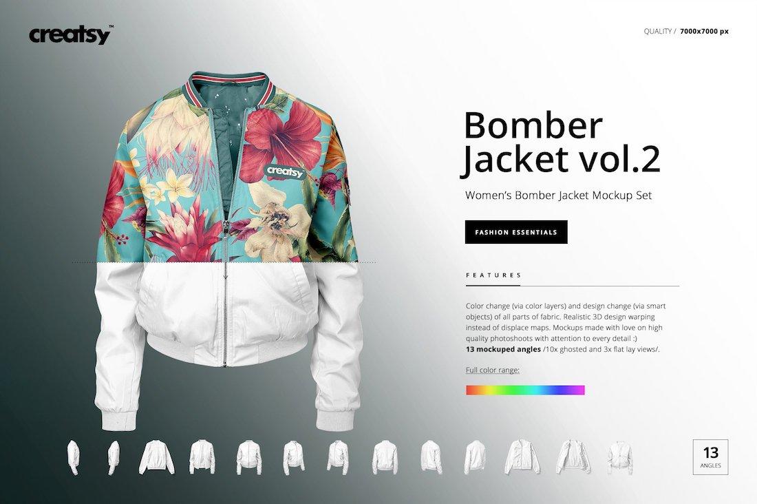 womens bomber jacket mockup-set