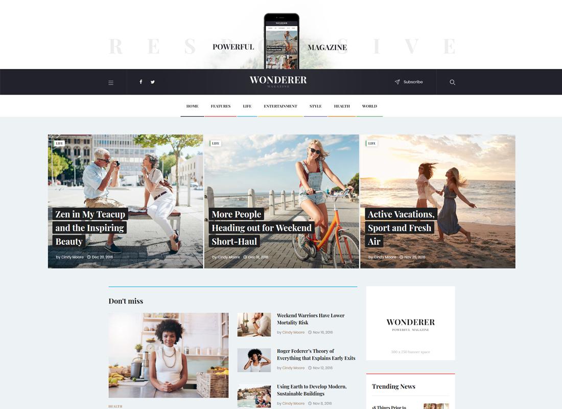 Wonderer | Personal Blog & Review Magazine WordPress Theme