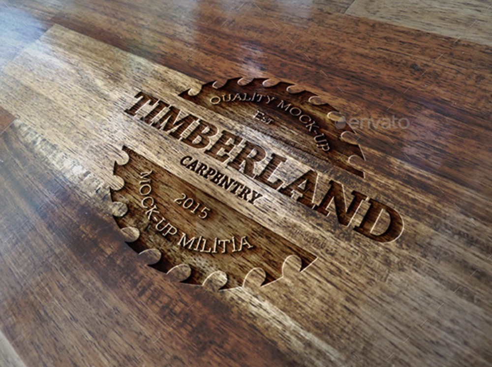 wood logo mockup for branding