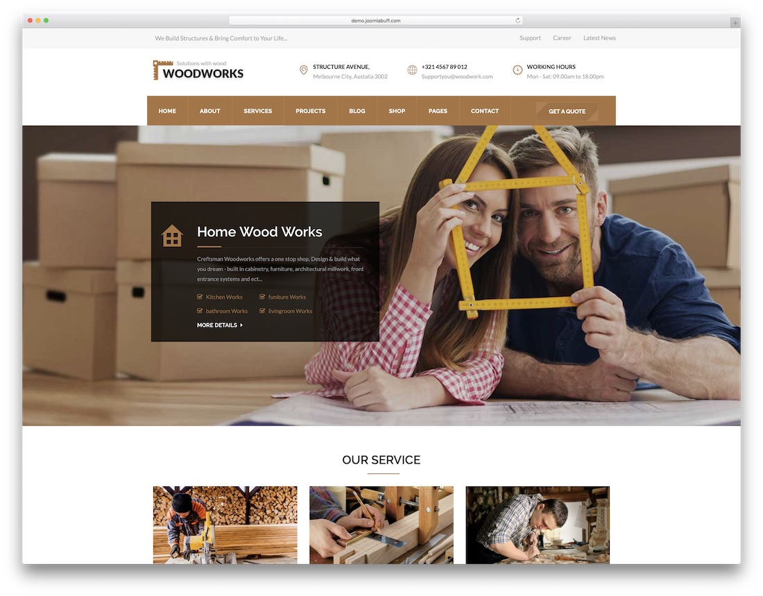 wood works joomla business template