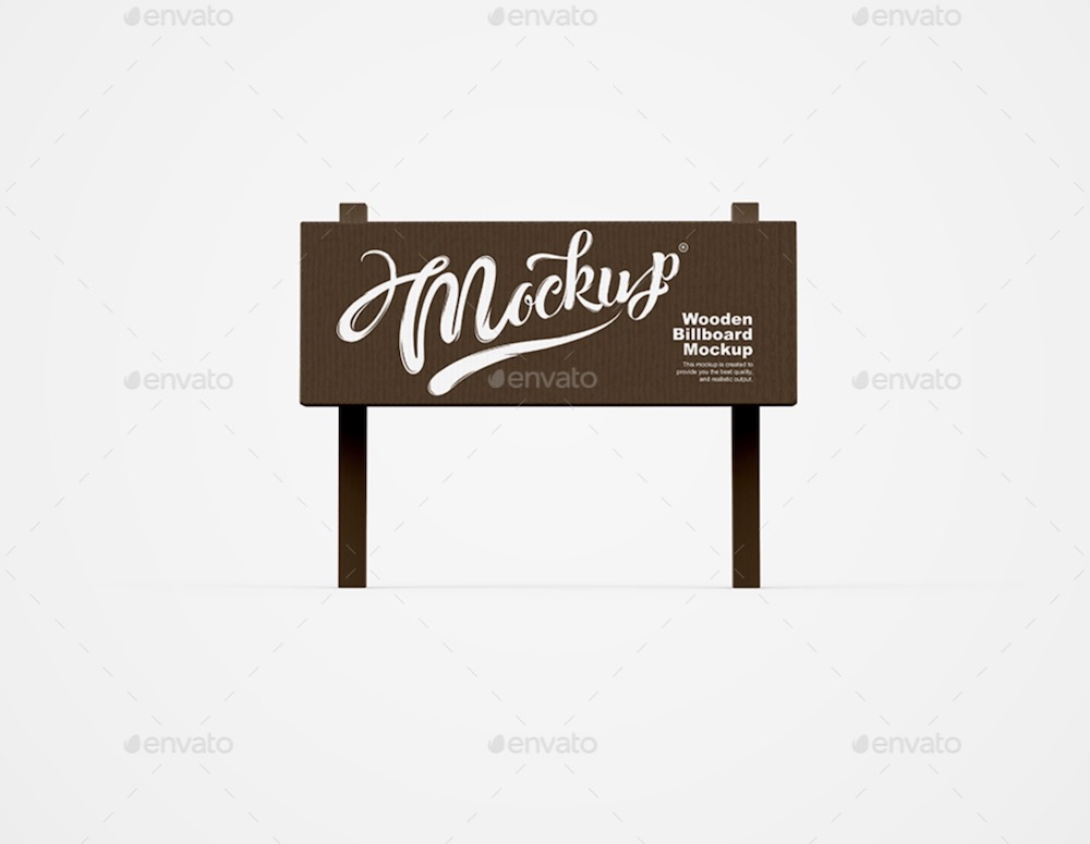 wooden billboard mockup