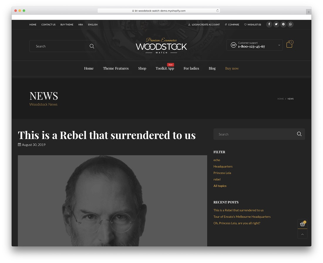 woodstock shopify blog theme