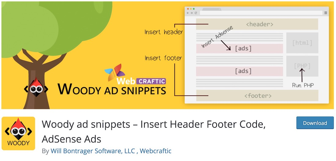 woody ad snippets wordpress footer plugin