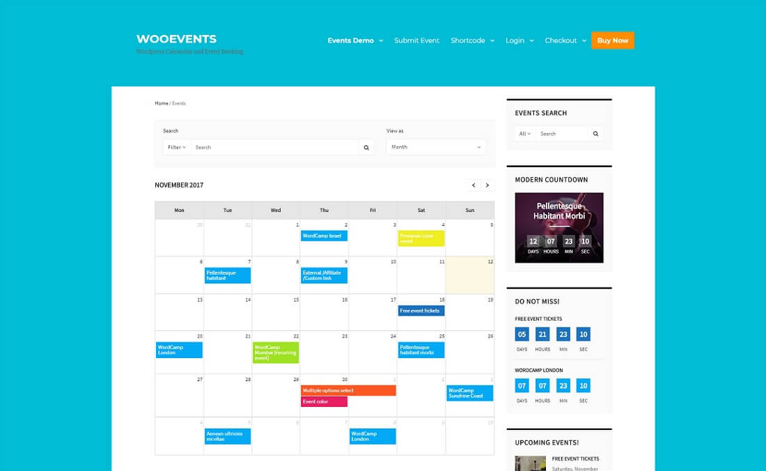 wooevents calendar event booking