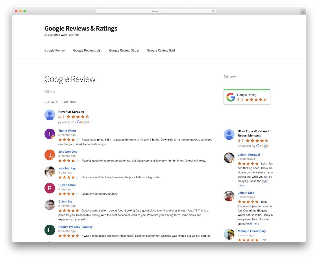 plugin d'évaluation des avis google wordpress