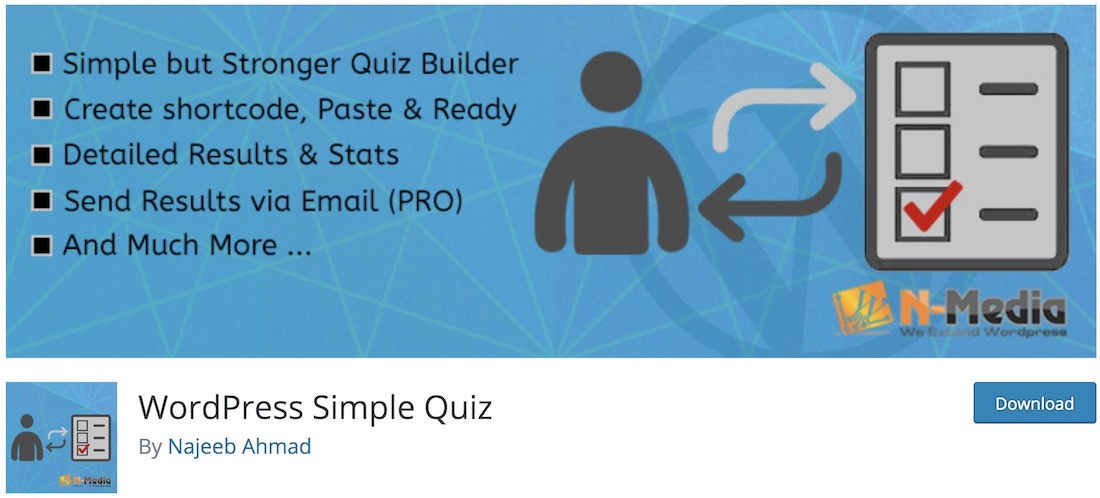 wordpress simple quiz wordpress plugin