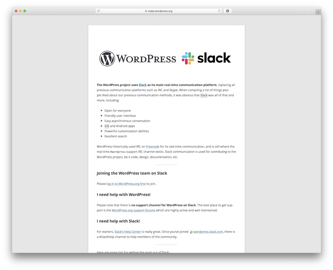 wordpress slack
