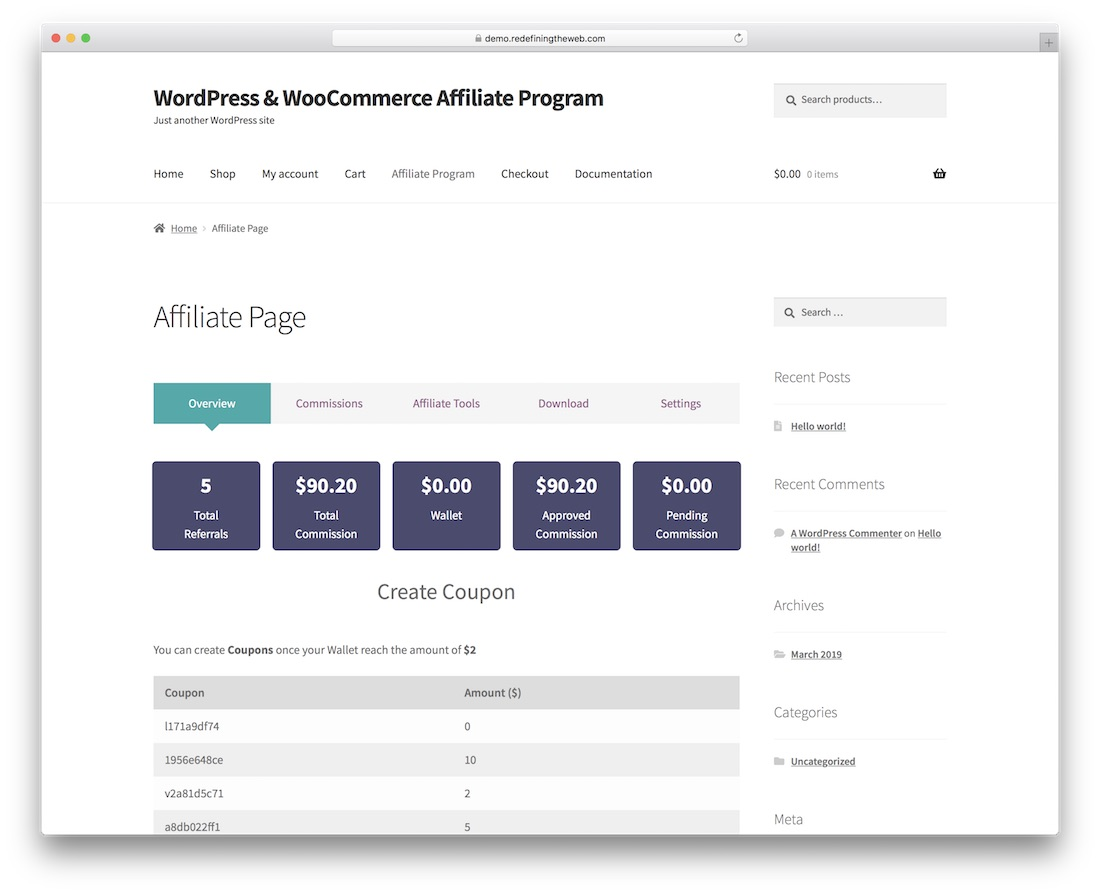 wordpress woocommerce affiliate program