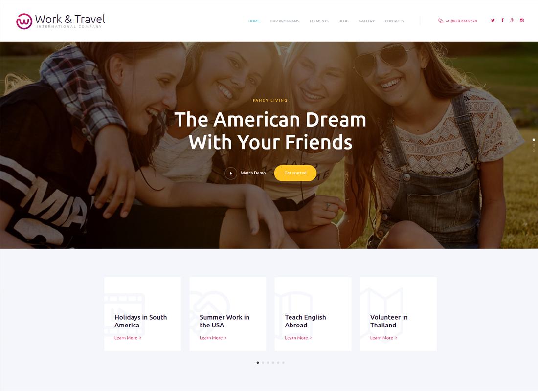 Work & Travel | International Company & Youth Programs WordPress Theme