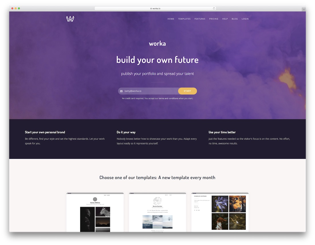 worka best portfolio website builder