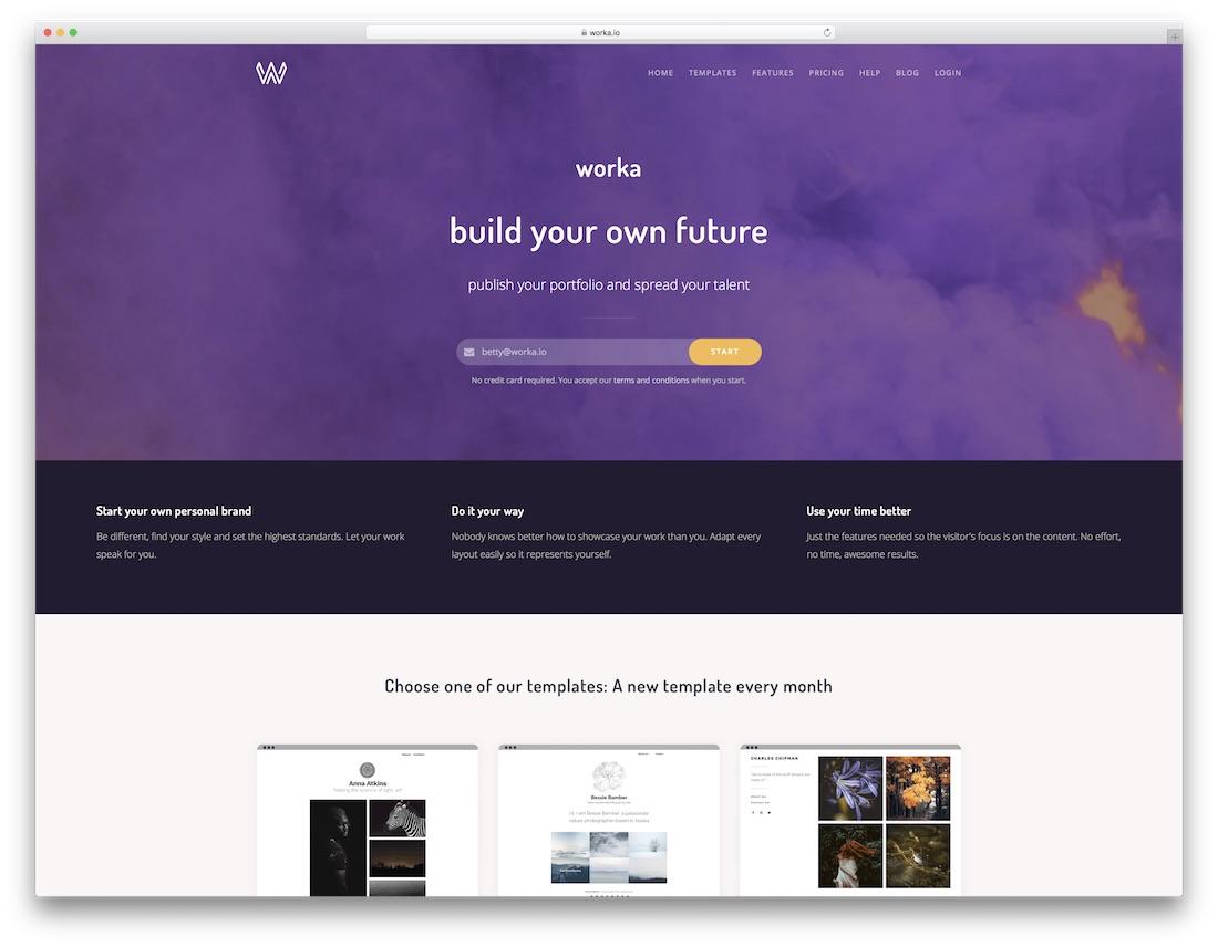 worka best portfolio website builder