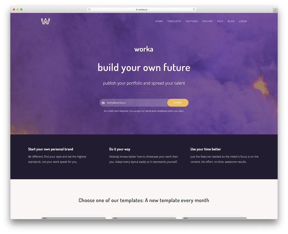 worka free portfolio website builder