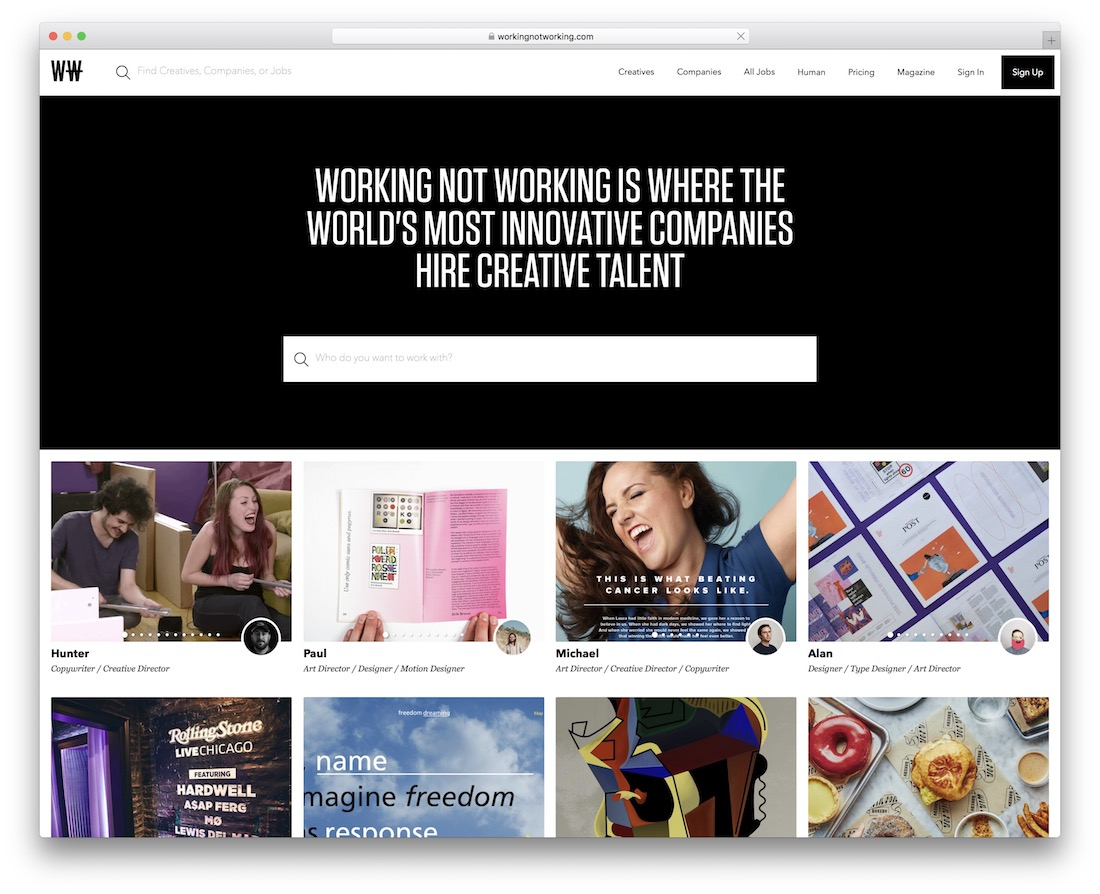 working not working tech startup job board