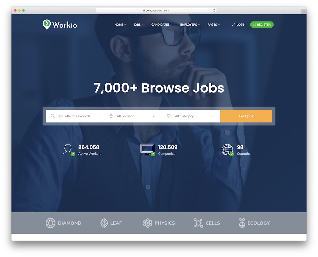 workio job board website template