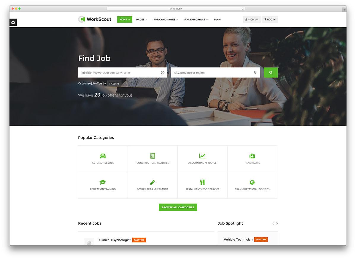workscout minimal job board wordpress theme