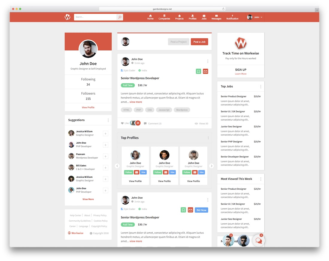 workwise bootstrap social network template