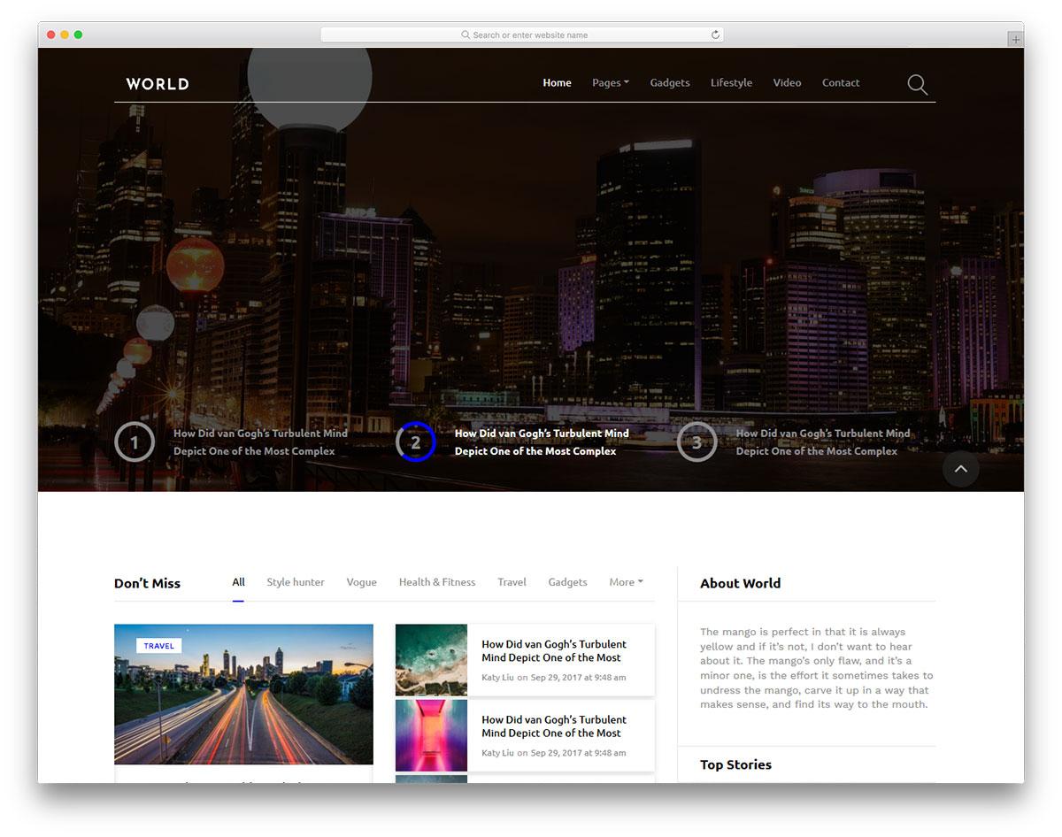 Скачать бесплатно html шаблон World