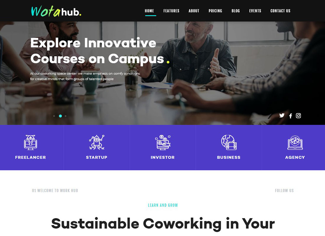 WotaHub | Coworking Space WordPress Theme