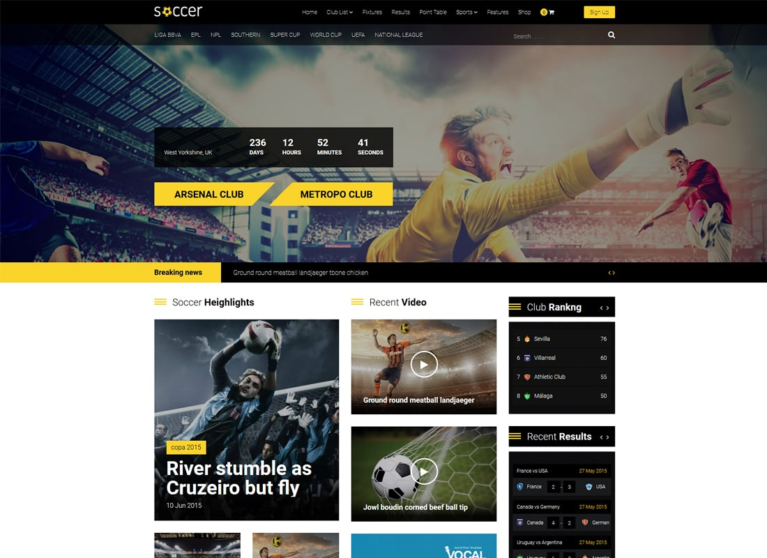 Soccer | Football, Sports Club, Sports Team WordPress Theme