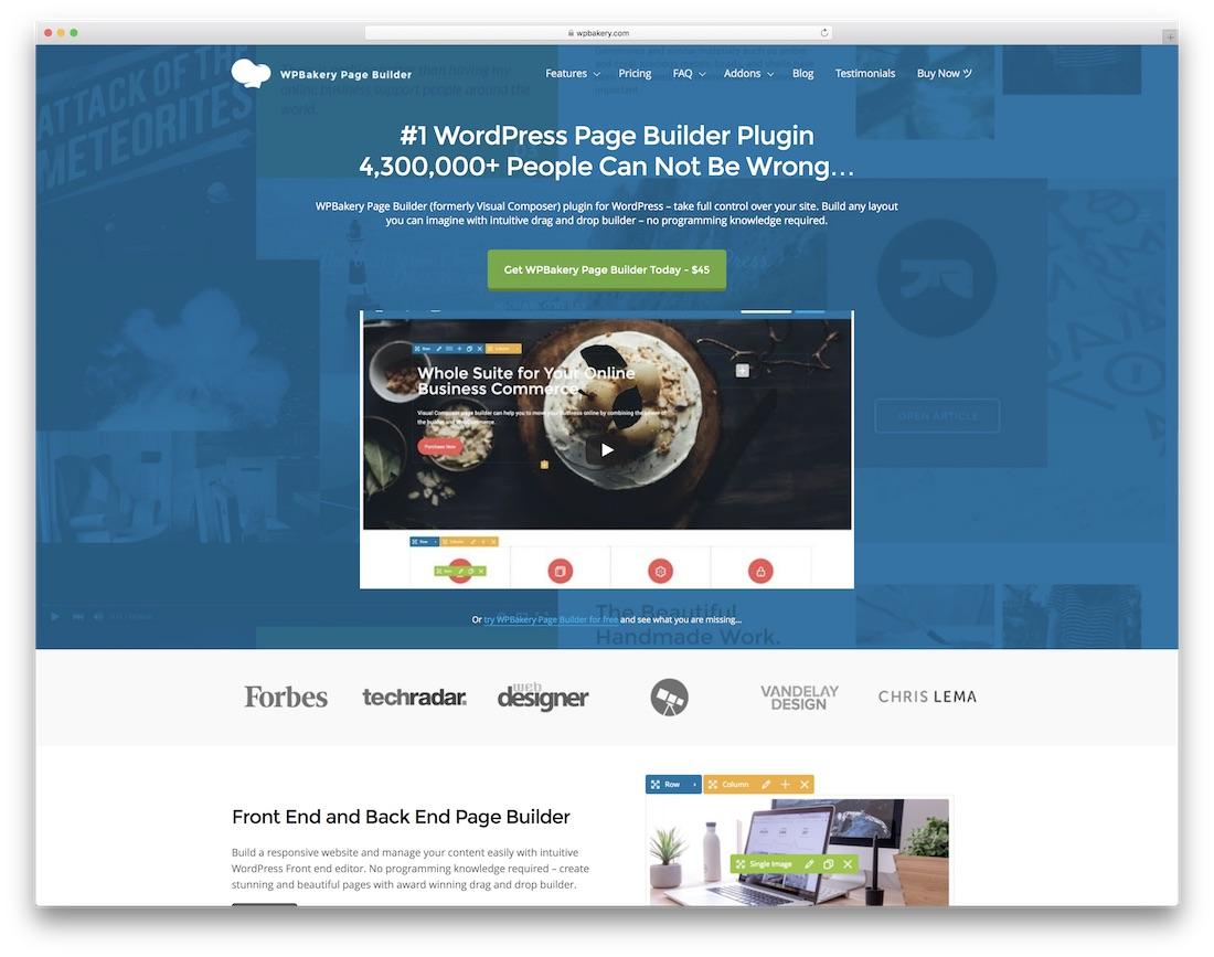 wpbakery drag and drop website builder