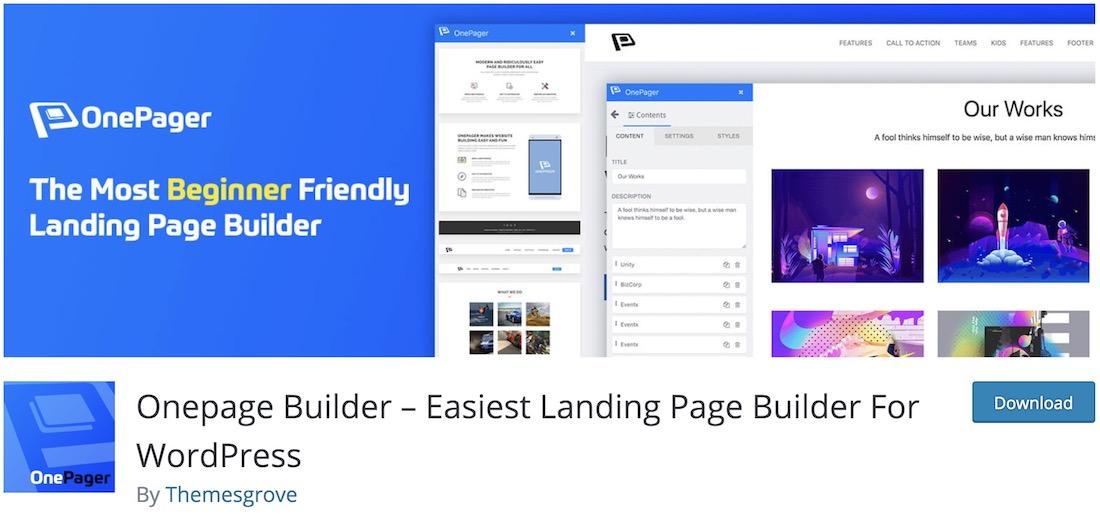 wponepager landing page plugin