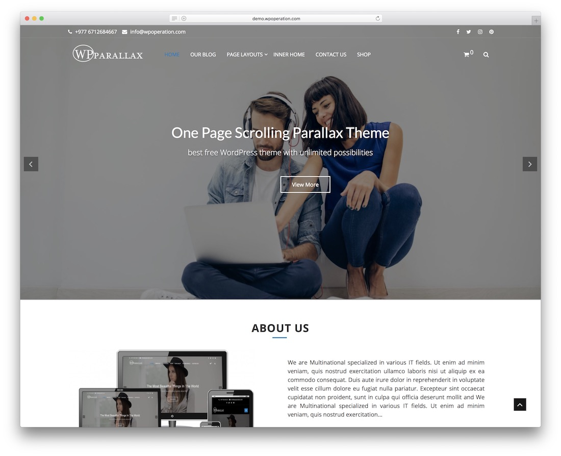 wpparallax free wordpress theme