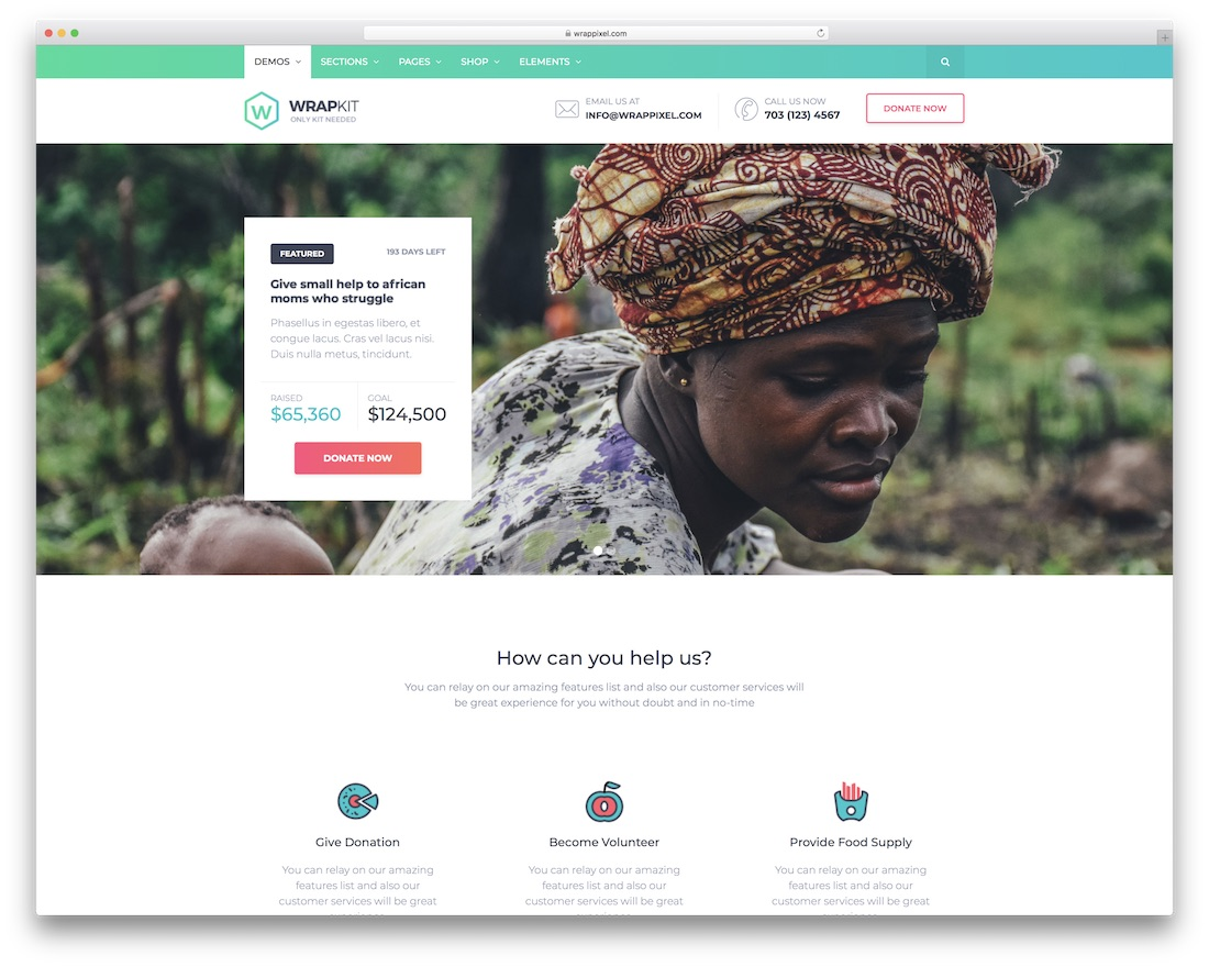 wrapkit html charity website template