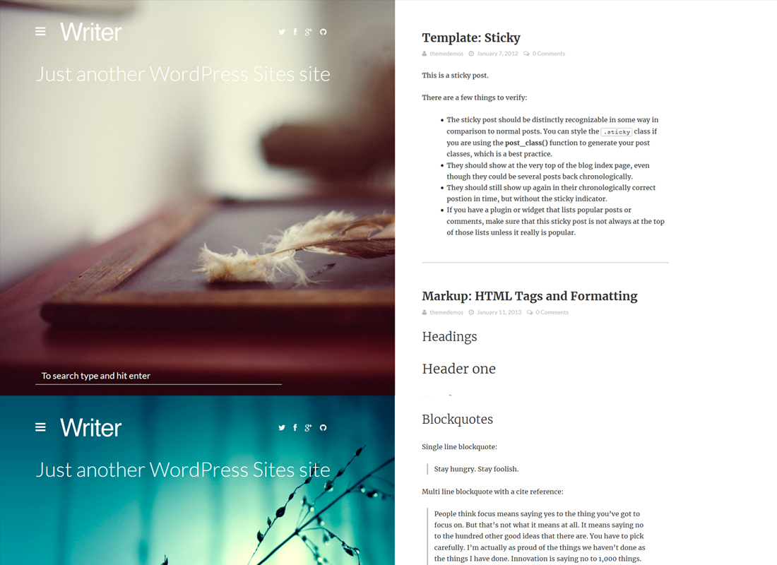 Writer| Bold Blogging WordPress Theme