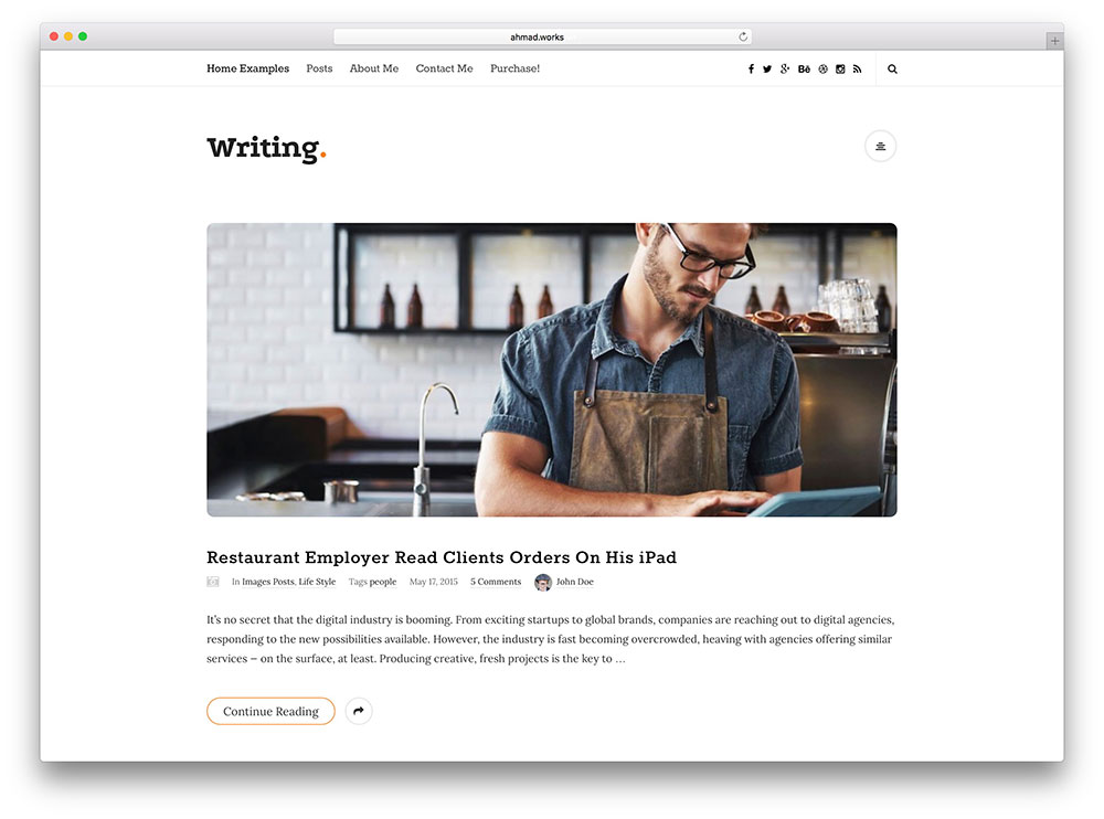 writing minimal corporate theme