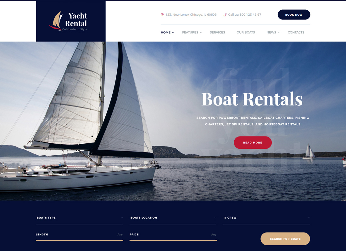 Yacht and Boat - Rental Service WordPress Theme