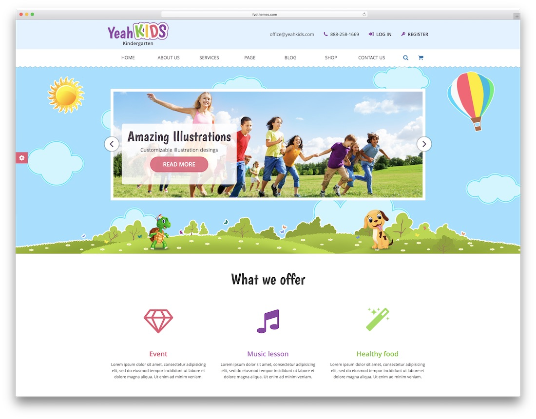 yeah kids school website template